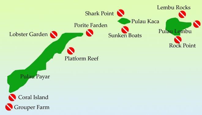 Карта спотов для дайвинга